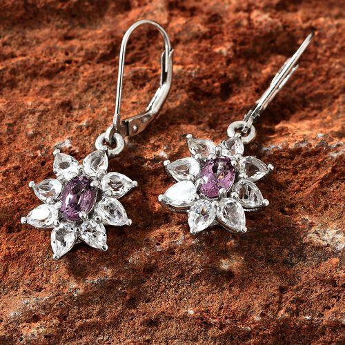 Lavender Spinel (Ovl), White Topaz Lever Back Earrings in Platinum Overlay Sterling Silver 3.750 Ct.