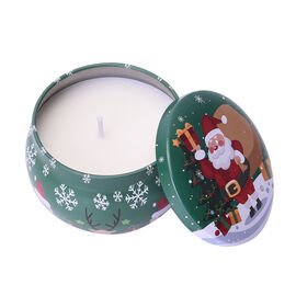 The 5th Season Scented Soy Wax Candle with Artificial Flowers in Wooden Gift Box - Santa with Tree