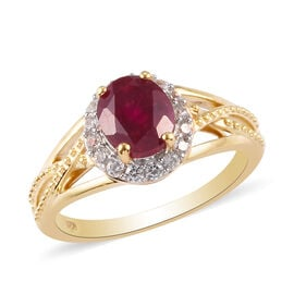 African Ruby and Natural Cambodian Zircon Ring in 14K Gold Overlay Sterling Silver 2.03 Ct.