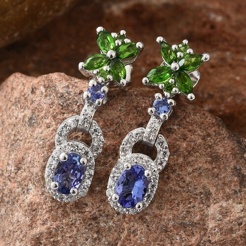 Tanzanite (Ovl), Russian Diopside and Natural Cambodian Zircon Earrings in Platinum Overlay Sterling Silver 2.250 Ct.