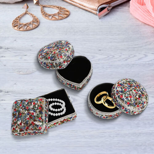 Set of 3 - Square, Round and Heart Shape Multi Colour Jewellery Box   (Size 6x6x2.5 Cm, 6.5x3.5 Cm, 7x3 Cm)