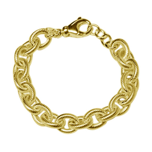 JCK Vegas Collection 14K Gold Overlay Sterling Silver Diamond Cut Oval Link Bracelet (Size 8 with Extender), Silver wt 25.37 Gms.