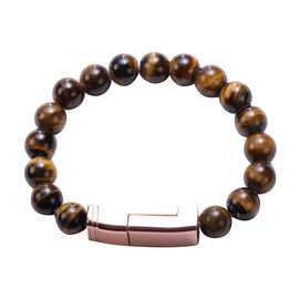 Yellow Tigers Eye Phone Charger Bracelet (Size 7.75) in Yellow Gold Tone 100.00 Ct.