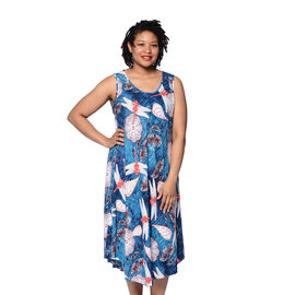 JOVIE Blue and Multi Colour Dragonfly Print Sleeveless Dress (Size up to 20)
