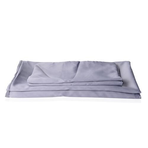Luxury Satin Woven Double Size Duvet Cover (Size 200x200 cm) with 2 Pilllow Cases (50x70 cm) in Grey Colour