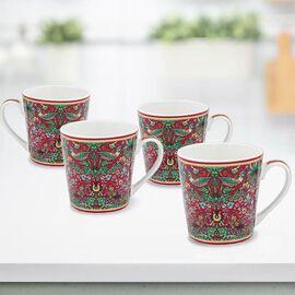Set of 4 - Lesser & Pavey - Willam Morris Strawberry Thief Red Mugs