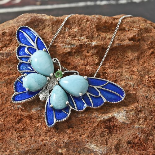 Larimar (Pear), Tsavorite Garnet and Natural Cambodian Zircon Blue Enameled Butterfly Pendant with Chain in Platinum Overlay Sterling Silver 11.000 Ct. Silver wt 10.98 Gms.