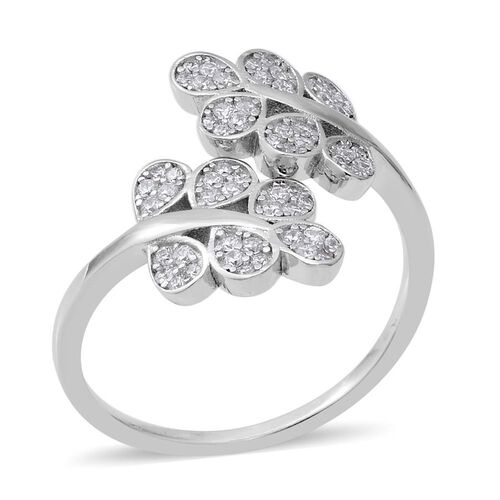 ELANZA Simulated Diamond Leaf Bypass Ring in Rhodium Plated Sterling Silver 3.43 Grams