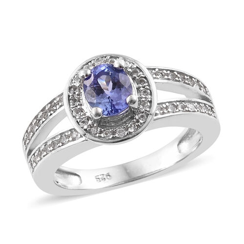 1 Carat Tanzanite and Zircon Halo Ring in Platinum Plated Sterling Silver