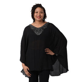 OTO - Swing Top with Embroidery Kaftan (Size 130x75cm)- Black