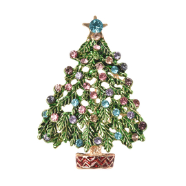 Christmas Simulated Multi Colour Diamond Tree Enamelled Brooch Cum Pendant in Yellow Gold Tone