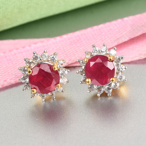 Luxury Collection- African Ruby and Natural White Zircon Earrings (with Push Back) in 14K Gold Overlay Sterling Silver 2.75 Ct.