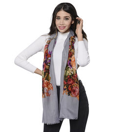 100% Merino Wool Floral Pattern Scarf (Size 65x180cm) - Grey and Multi Colour