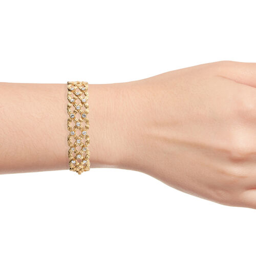 J Francis Crystal from Swarovski - White Colour Crystal (Rnd) Bangle (Size 7.5) in Gold Plated