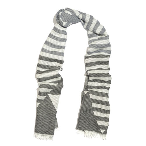 Designer Inspired-Black, Grey and Off White Colour Stripes and Geometrical Pattern Scarf with Fringes (Size 190X70 Cm)