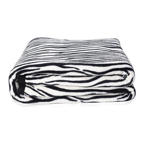 Super Soft Microfibre Plush Blanket Zebra Print (Size 150x200 Cm) - Black and White Colour