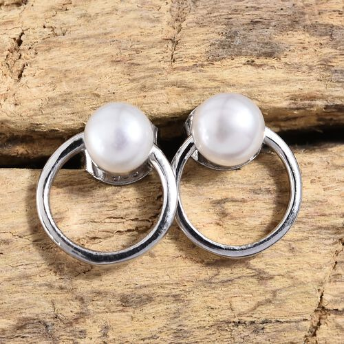 Fresh Water Pearl (1.75 Ct) Platinum Overlay Sterling Silver Earring  1.750  Ct.