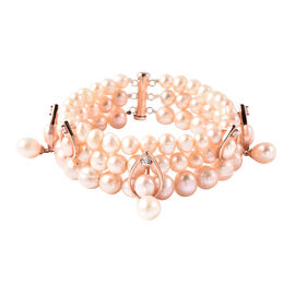 LucyQ Pink Freshwater Pearl, Natural Cambodian Zircon Three Layer Bracelet (Size 7.5) in Rose Gold O
