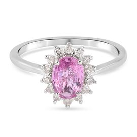 Super Find - 9K White Gold Pink Sapphire and Diamond Ring 1.04 Ct.