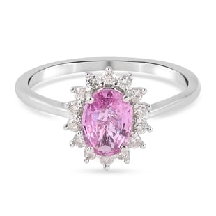 9K White Gold AA Pink Sapphire and Diamond Ring 1.04 Ct.