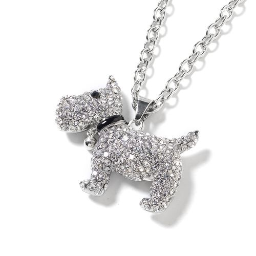 White and Black Austrian Crystal (Rnd) Dog Pendant With Chain in Silver Tone