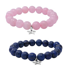 Value Buy-2 Piece Set - Lapis Lazuli (Rnd), Rose Quartz and Blue Sapphire Stretchable Beads Bracelet