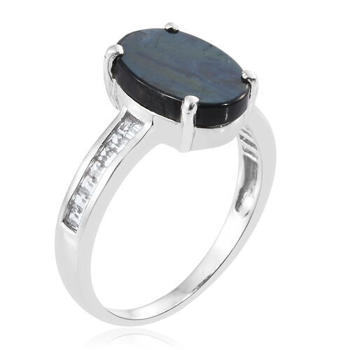 Natural Spectrolite (Ovl 3.55 Ct), White Topaz Ring in Platinum Overlay Sterling Silver 4.250 Ct.