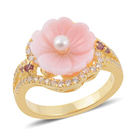 Jardin Collection Mother of Pearl and Multi Gemstone Floral Ring in Gold Plated Silver