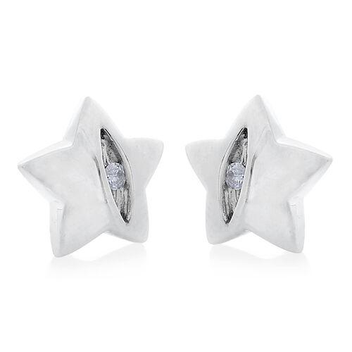9K White Gold Diamond Star Stud Earrings (with Push Back) SGL Certified (I3/G-H)