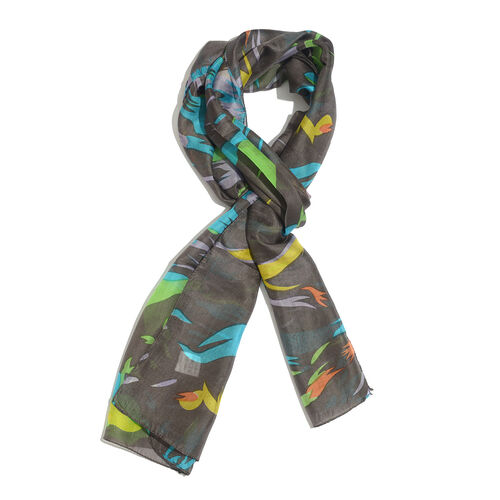 100% Mulberry Silk Lilac, Green and Multi Colour Abstract Pattern Scarf (Size 180x50 Cm)