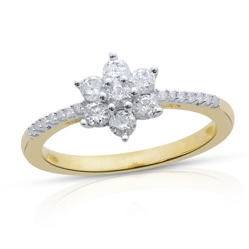 9K Yellow Gold SGL Certified Diamond (Rnd) (I3/G-H) Floral Ring 0.505 Ct.