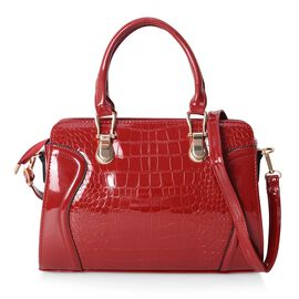 HONG KONG CLOSE OUT-Classic High Glossed Ture Red Colour Tote Bag with Removable Shoulder Strap (Size 32x23x11 Cm)