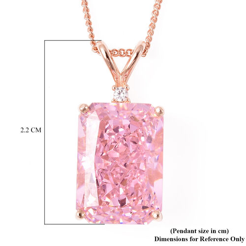 ELANZA Simulated Pink Sapphire and Simulated Diamond Pendant With Chain in Rose Gold Overlay Sterling Silver, Silver wt. 8.74 Gms