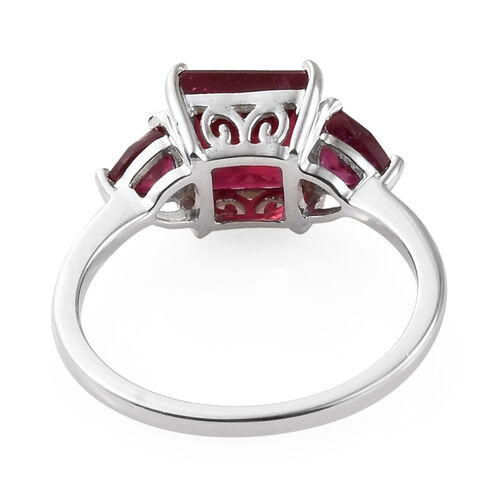 9K White Gold AA African Ruby (Sqr and Tri) Three Stone Ring 3.250 Ct.