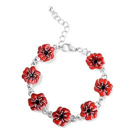 TJC Poppy Design Red and Black Enamelled Poppy Flower Silver Tone Bracelet (Size 7 with 1 Inch Exten