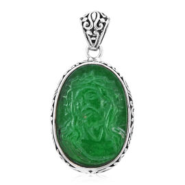 Royal Bali Collection- Carved Jesus Face Green Jade Reversible Pendant in Sterling Silver 18.81 Ct,