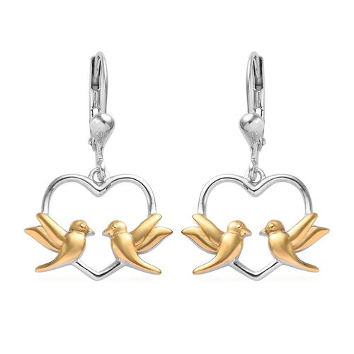 Platinum and Yellow Gold Overlay Sterling Silver Flying Bird Heart Earrings