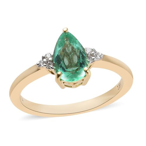ILIANA 1.19 Ct AAA Boyaca Colombian Emerald and Diamond Solitaire Ring in 18K Gold SI GH