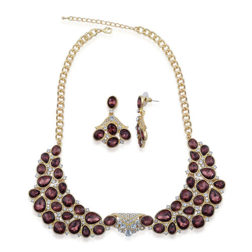 Simulated Amethyst and White Austrian Crystal Necklace (Size 20) and Earrings in Gold Tone