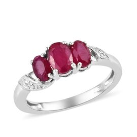 African Ruby (Ovl) Three Stone Ring in Platinum Overlay Sterling Silver 1.250 Ct.