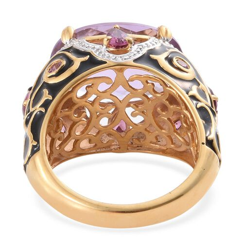 GP Rose De France Amethyst (Ovl 10.50 Ct), Rhodolite Garnet and Kanchanaburi Blue Sapphire Filigree Enameled Ring in 14K Gold Overlay Sterling Silver 11.750 Ct.