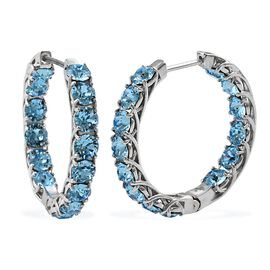 J Francis - Crystal from Swarovski Aquamarine Colour Crystal (Rnd) Inside-out Hoop Earrings (with Cl