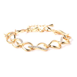 White Austrian Crystal Adjustable Link Bracelet (Size 7-8.5) in Yellow Gold Tone