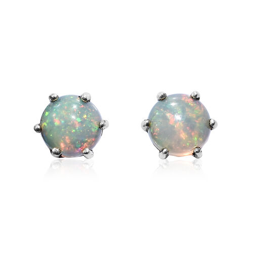 Ethiopian Welo Opal (Rnd) Stud Earrings (with Push Back) in Platinum Overlay Sterling Silver 1.25 Ct.