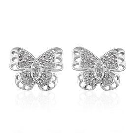 GP Diamond (Rnd), Kanchanaburi Blue Sapphire Butterfly Earrings in Platinum Overlay Sterling Silver 0.330 Ct.