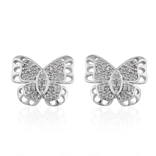 GP Diamond (Rnd), Kanchanaburi Blue Sapphire Butterfly Earrings in Platinum Overlay Sterling Silver 0.330 Ct.