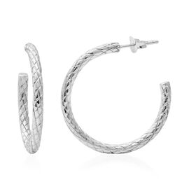 Designer Inspired - Sterling Silver Criss Cross Hoops (with Push Back), Silver wt 4.43 Gms.