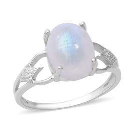Rainbow Moonstone (Ovl 11x9 mm) Solitaire Ring (Size L) in Sterling Silver 5.14 Ct.