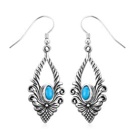 Royal Bali Collection 3.58 Ct Arizona Sleeping Beauty Turquoise Drop Floral Earrings in Silver
