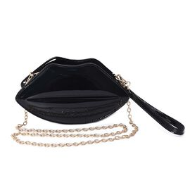 Black Colour Lip Design Clutch with Detachable Chain Strap (Size 25x15x7 Cm)
